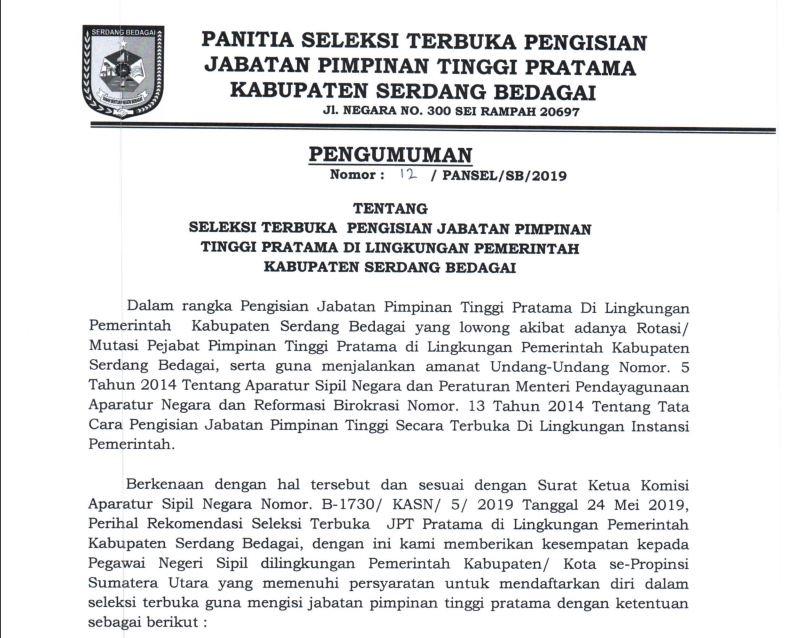 Seleksi Terbuka Pengisian Jabatan Pimpinan Tinggi Pratama Pemkab Sergai Media Center